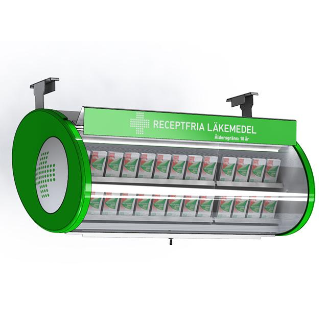 Läkemedelsställ för upphängning över kassa eller försäljningsdisk